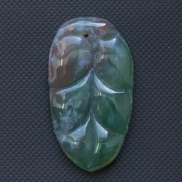 Моховый агат резной лист 45х25